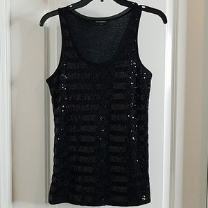NWOT Express Sequin Tank Top with Floral Lace
